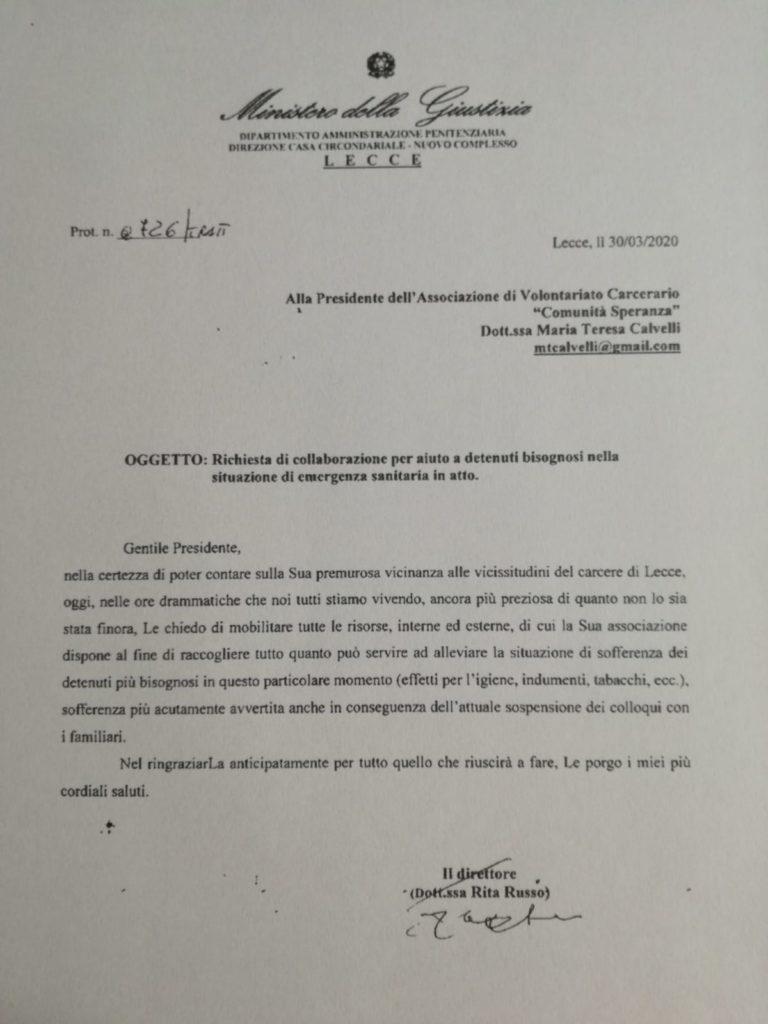Comunicazione della Direttrice del Carcere di Lecce